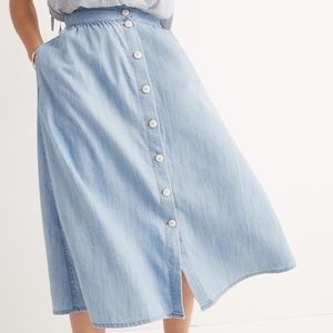 Madewell Palisade Button Front Chambray Midi Skirt
